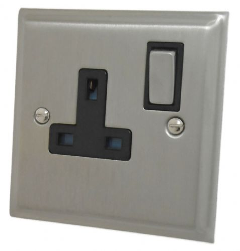 G&H DSN309 Deco Plate Satin Nickel 1 Gang Single 13A Switched Plug Socket
